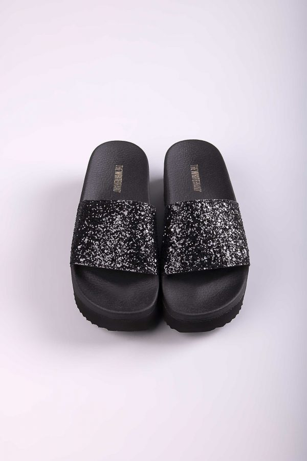 THE WHITE BRAND High Glitter Slippers - Black dLew5zSs