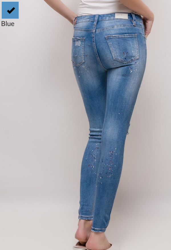 ebc7b298b55a07 Queen Hearts Blauw Paint Spot Jeans - Shopdistrict Boutique