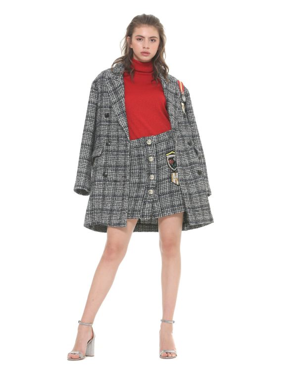 Ongebruikt Silvian Heach Grijze wollen jas met patches - Shopdistrict Boutique NG-03