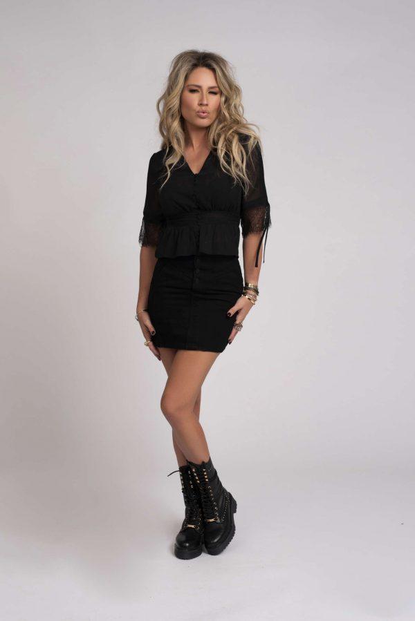 Kate Moss X Nikkie FLORA Blouse in Zwart