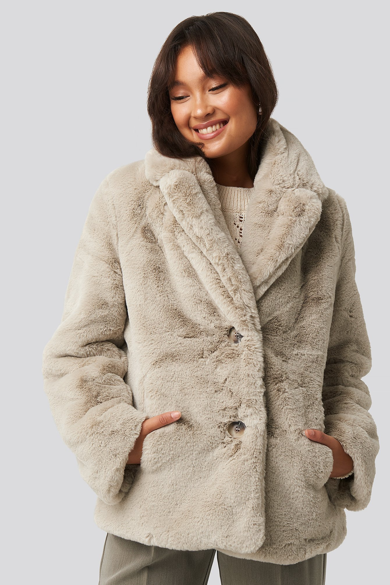 NA-KD Synthetic Colored Faux Fur Short Coat Beige in Light