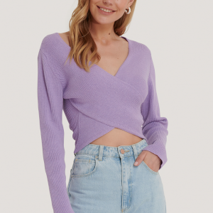 Na-KD Crossover Sweater in Lila